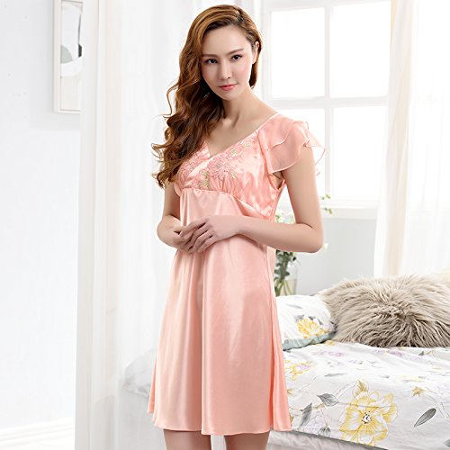 estate manica pizzo casa Ladies notte cotone pigiama Skirt Poly moda da dress lunga camicia Breve 8HwSxaqTna