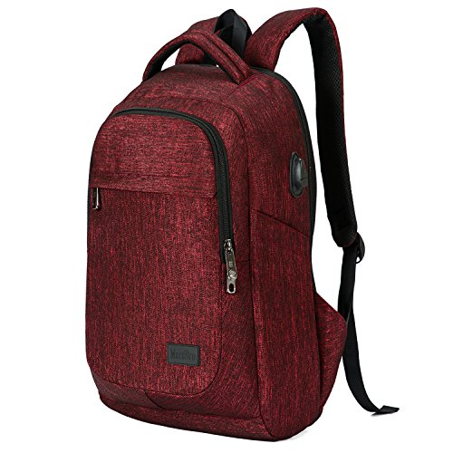MarsBro Laptop Backpack, Business Travel Gear with USB Charging Port College Water Resistant Anti Theft 15.6 Inch Bag for Women Men Wine Red