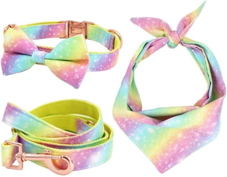 fafagogo2216gogo Rainbow Dog Collar Pajaritacon Hebilla De Metal Collar para Perros Y Gatos Grandes Y Pequeños Accesorios para Mascotas, Juego Completo, L
