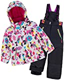 Deux par Deux Girls' 2-Piece Snowsuit Confetti Garden Black, Sizes 4-14 - 8