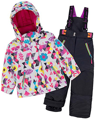 Deux par Deux Girls' 2-Piece Snowsuit Confetti Garden Black, Sizes 4-14 - 8 by Deux par Deux