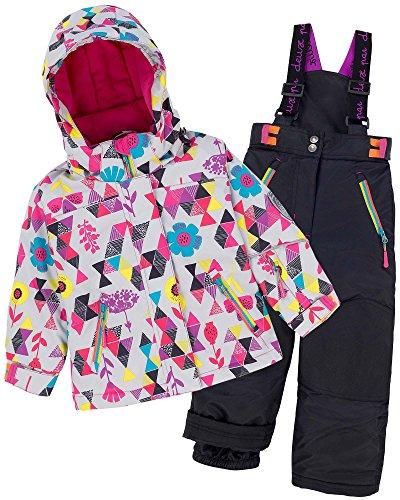 Deux par Deux Girls' 2-Piece Snowsuit Confetti Garden Black, Sizes 4-14 - 7 by Deux par Deux