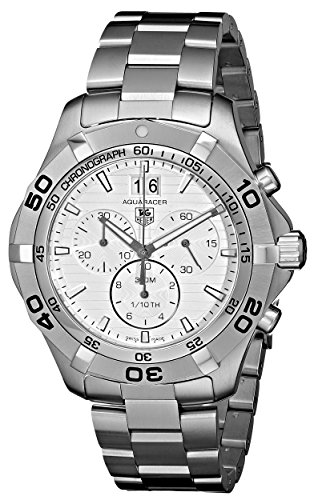 Aquaracer Silver Dial - TAG Heuer Men's CAF101F.BA0821 Aquaracer Quartz Silver Chronograph Dial Watch