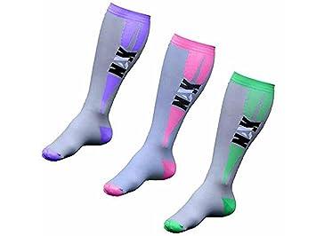 NAK Fitness - Calcetines de compresión graduada - Unisex - Para enfermeras, deportistas y practicantes de Crossfit - Gris / rosa - M: Amazon.es: Deportes y ...