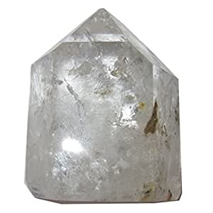 Quartz Point Phantom 53 Dazzling Clear Crystal Green Yellow Inclusions Chakra Centering Stone 3.2""