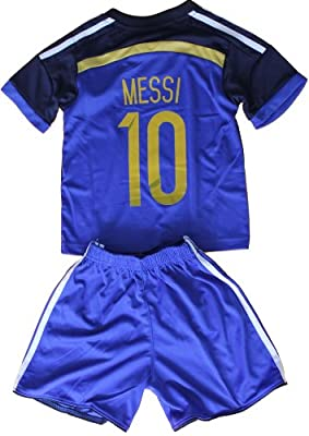 FWC 2014 Lionel Messi 10 Argentina Away Futbol Football Soccer Jersey & Short