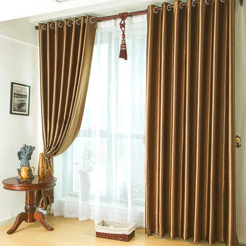 KoTing Home Fashion Modern Polyester Solid Brown Embossing Thermal Insulated Room Darkening Window Curtains Drapes Grommet Top,Set of 2 Panels,42 by 100-Inch Each Panel Review