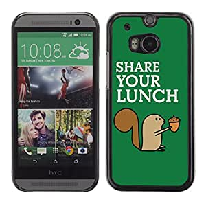 CaseCaptain Carcasa Funda Case - HTC One M8 / Funny Squirrel Share Your Lunch /