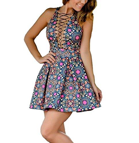 9e03b738e722 Women Sexy V Neck Cross Bandage Floral A-line Dress Party Beach Boho Skirt  (M)