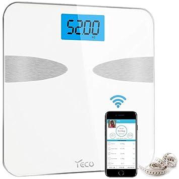 YECO Báscula de Baño,Digital Bluetooth Báscula Grasa Corporal con IOS y Android Smart App