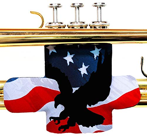 (Trumpet valve protector guard with hook and loop closure in colors and patterns - Trumpet Valve Guard Legacystraps American Flag 2 Design)