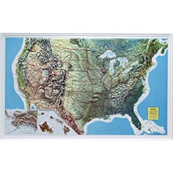 U S Raised Relief Topographical Map 3d Rand Mcnally