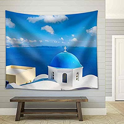 Beautiful Portrait, Classic Design, Santorini Island Greece Beautiful View of Blue Ocean and Traditional Dome Church Architecture Fabric Wall