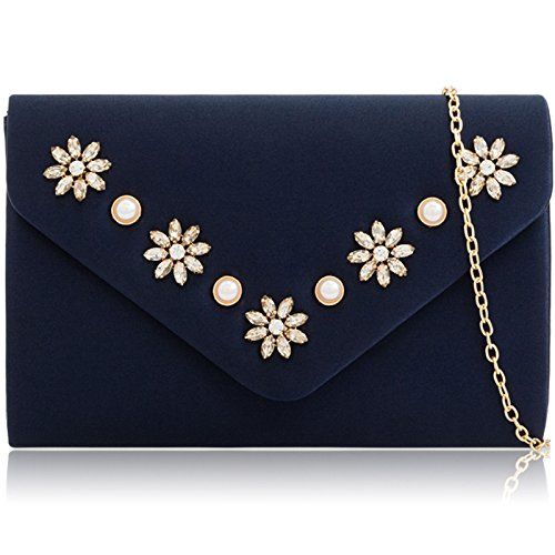 with Women Bag Purse Clutch Navy Rhinestone Xardi Bridal Envelope Shaped London Evening Medium Diamante Pearl Satin for wIqxf7RYx