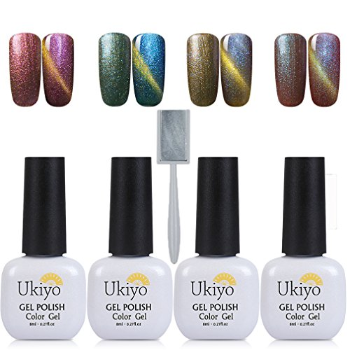 Ukiyo Gel Nail Polish Set 4Pcs 3D Magnetic Charming Cat Eye Effect UV/LED Light Soak Off Nail Gel Lacquers French Manicure Nail Art With Magnetic Stick (Set 4)