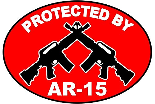 1Pc Important Unique Protected by AR-15 Stickers Signs Security Rifle Video Hr Surveillance Decals House Neighbor Warning Under Cameras Protect Business Sign Fence Property Yard Doors Size 3.5