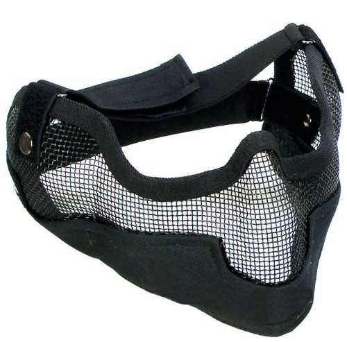 "SHARPTECK Matrix Iron Face Carbon Steel ""Striker"" Gen2 Metal Mesh Lower Half Mask (Black)"