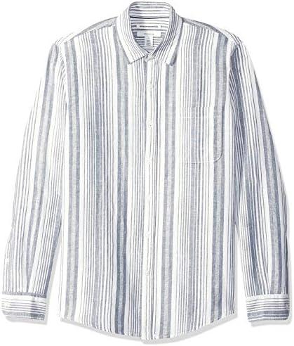 Men's Slim-Fit Long-Sleeve Linen Cotton Shirt