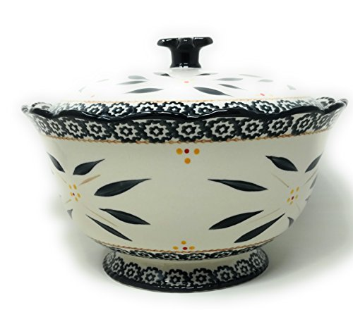 (Temp-tations 3 qt Bowl w/Stoneware Lid, Scallop & Flange (Old World Black))