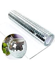 Redodeco 900pcs Real Glass Silver Mirrors Mosaic Tiles Sticker for Craft Square Glass Tiles Self Adhesive,10mm by 10mm