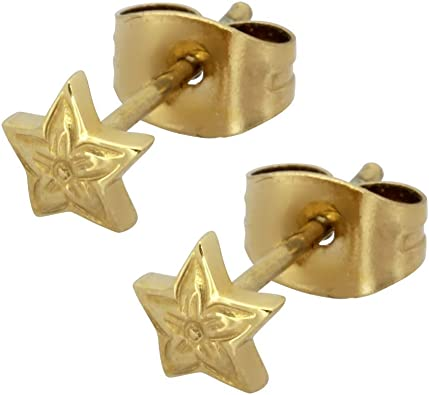 Hawaiian Star Stud Earrings for Women and Girls 316L Stainless Steel 14K Gold Plated Hibiscus Flower Engraved Hypoallergenic Polished Jewelry Set of Two Hawaii Gift