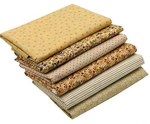 6pc Cotton Fabric Brown Series Pre Cut Charm Quilt for Fat Quarters 40cmx50cm