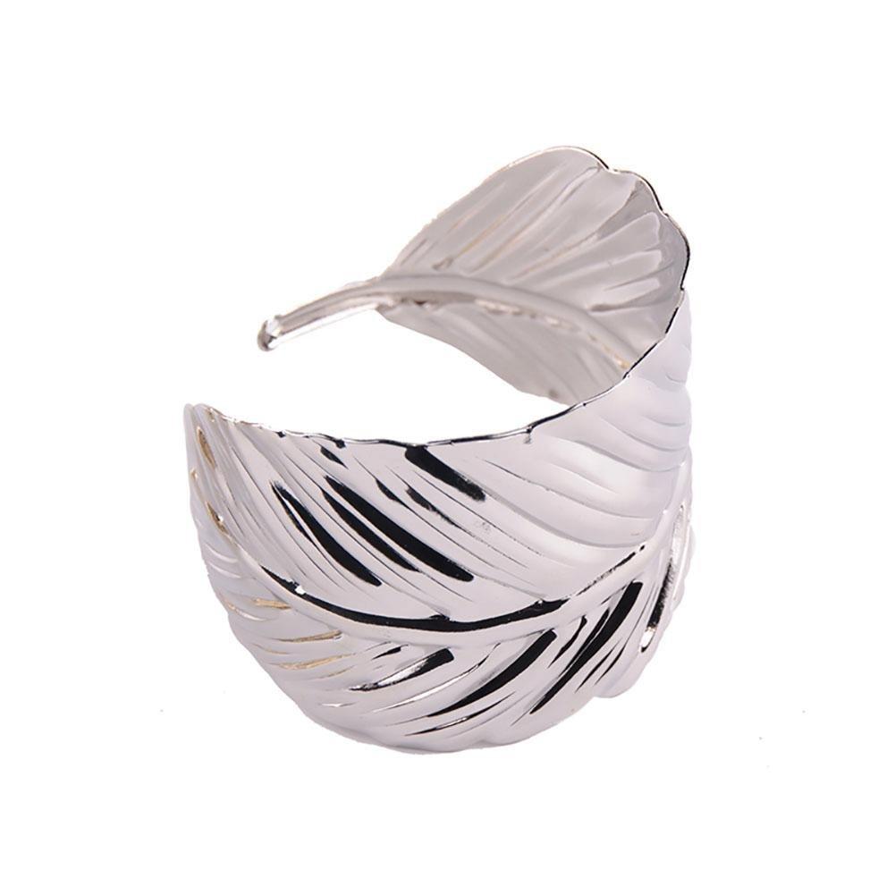Ownsig Women Bohemian Carved Leaf Arched Bracelets Open Bangles Bracelets Eye-Catching