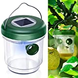 Fullsexy Wasp Trap Catcher, Outdoor Solar Powered Fly Trap with Ultraviolet LED Light Waterproof for Trapping Bees, Yellow Jackets, Hornets, Bugs and More (1 Pack)