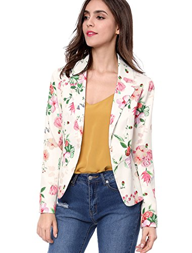 Allegra K Women's Floral Print Notched Lapel Open Front Blazer M White -
