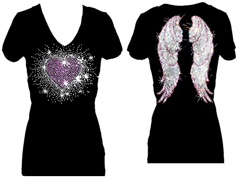 Rockeroo Boutique Pink Heart Burst Angel Wings Rhinestone Womens V Neck Short Sleeve Tee Shirt (2X)