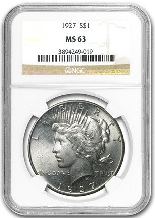1927 Peace Dollar $1 MS-63 NGC