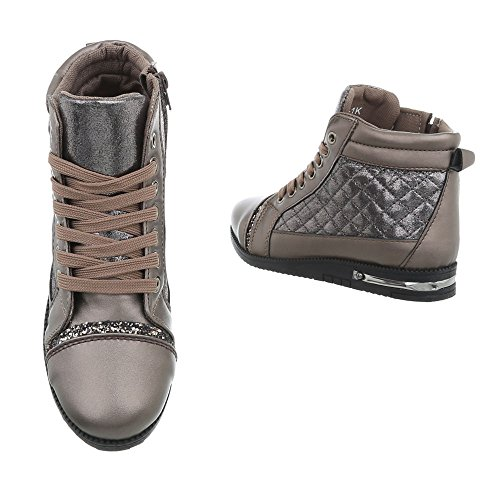 Femme Mode design Espadrilles Bronze M 1k Sneakers High Ital Chaussures Plat Baskets I7xqndaf
