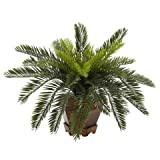 Exclusive By Nearly Natural Cycas w/Hexagon Vase Silk Plant