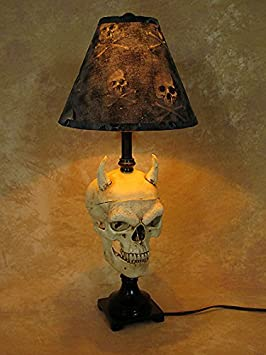 Desk Lamp with Evil Harvey Skull and Bone Shade