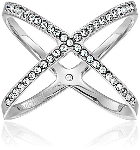 Michael Kors Pave X Silver Ring, Size 9