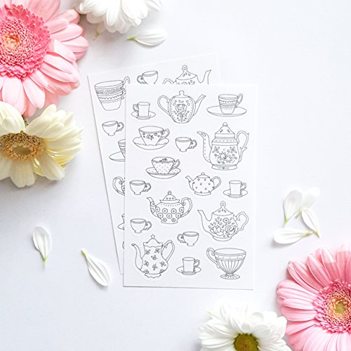 Adult Coloring Stickers with Teapots and Cups for Tea Party Favors, Planners or Crafting, 2 Sheets