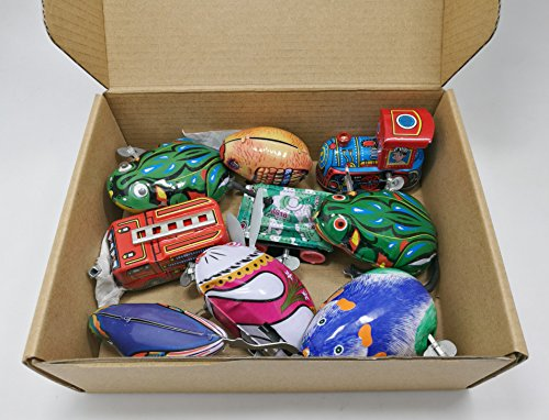 9 pcs Box Collection of retro vintage wind-up metal tin toys, cool crazy gift, frog, rabbit, bird, chick, truck, locomotive, mouse, tank by 3pdt (Image #2)