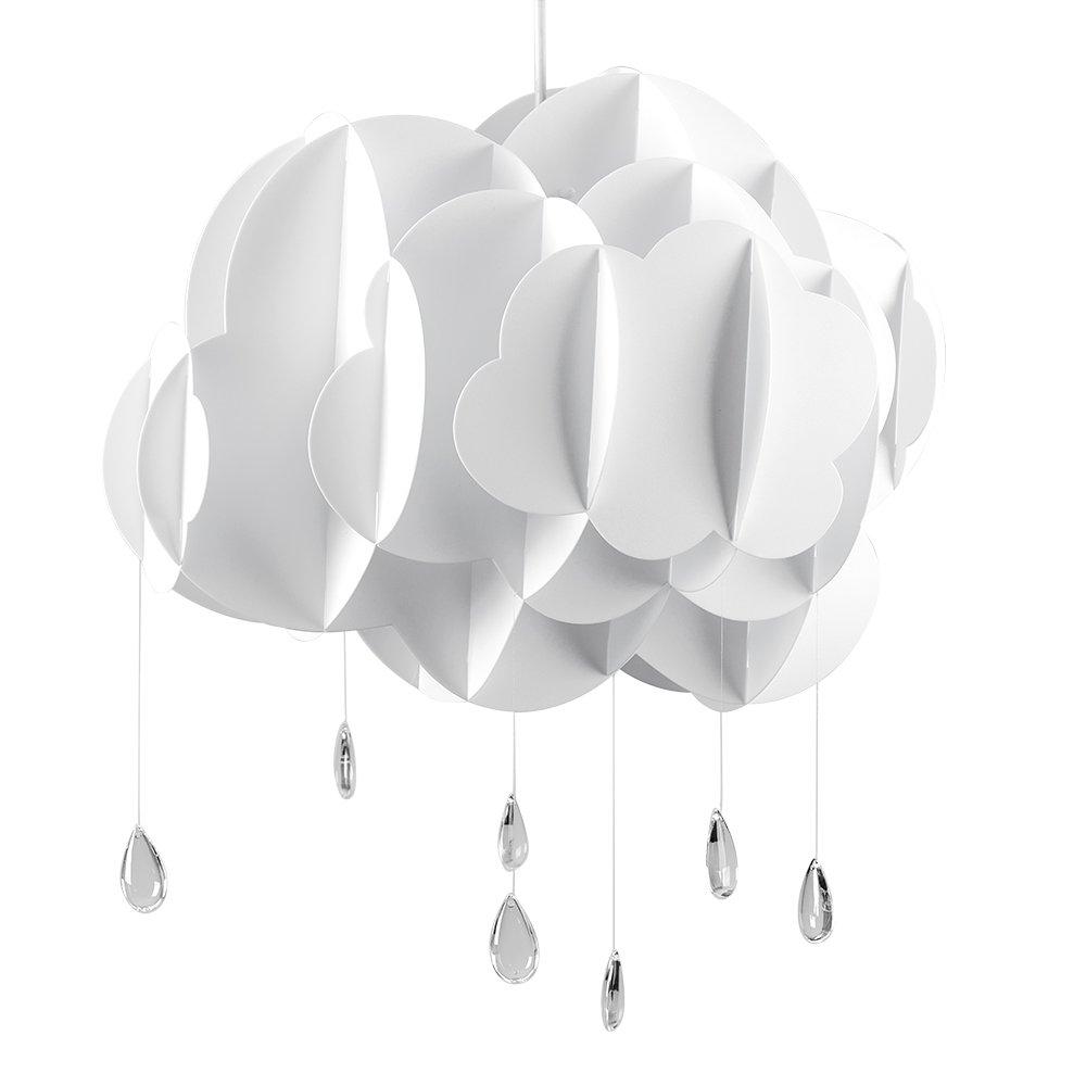 MiniSun – Großer und süßer Lampenschirm für Kinder- und Babyzimmer im Gestalt von einer weißen und geschichteten Wolke mit Regentropfen aus Acryl – für Hänge- und Pendelleuchte