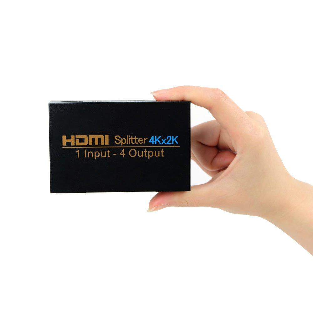HDMI Splitter 4K, NIERBO Duplicador HDMI Divisor Splitter 1X4 Duplicator(Splitter) ladron hdmi Ultra HD 4K 3D HDMI Splitter hdcp 1080P Full HD Distribuidor HDMI 1 Entrada x 4 Salida HDMI Conmutador fo Video Audio Duplicadora r PS4 PS3 XboX