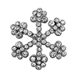 PinMart's Silver Plated Rhinestone Snowflake Winter Holiday Brooch Pin