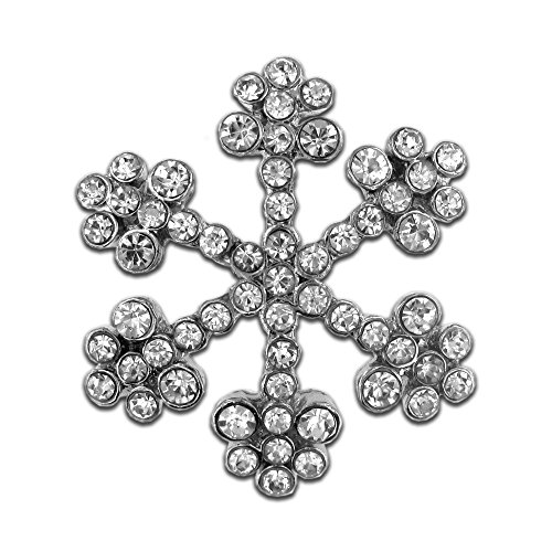 PinMart's Silver Plated Rhinestone Snowflake Winter Holiday Brooch Pin by PinMart