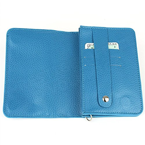 Pochette Compagnon Safari Cuir Bleu turquoise Beaubourg