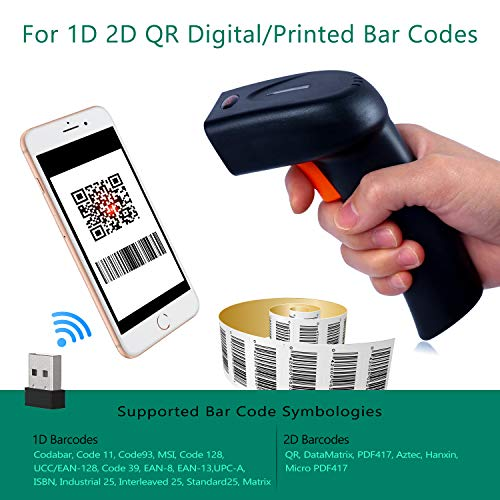 Tera Barcode Scanner Wireless and Wired 1D 2D QR Digital Printed Bar Codes Reader Portable Handheld Barcode Scanner Compact with Magic Diamond Accurate Rapid Aiming System and Vibration Alert by Tera (Image #2)