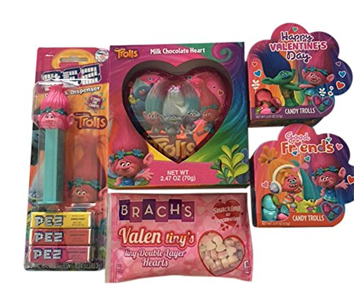 Trolls Chocolate Candy Valentines Gift Bundle