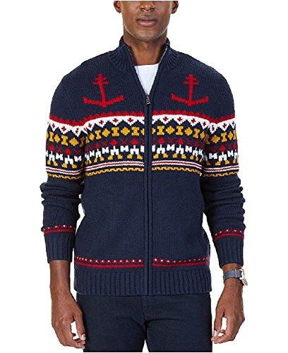 Nautica Men's Anchor Fair Isle Zip-Front Sweater (True Navy, ()