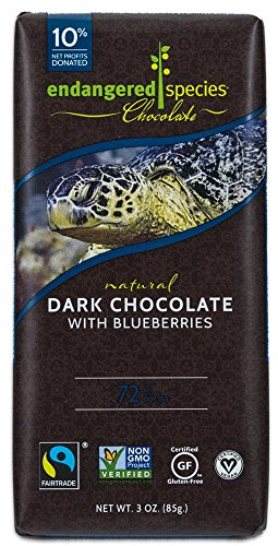 Endangered Species Sea Turtle, Natural Dark Chocolate (72%) with Blueberries, 3-Ounce Bars (Pack of 12)