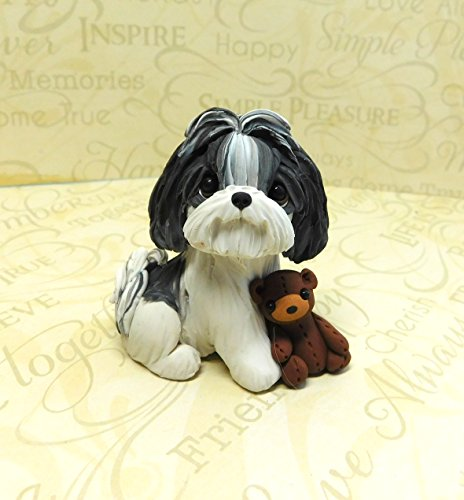 Black and White Shih Tzu with teddy bear polymer clay dog sculpture by Raquel at theWRC dog collectible (Black White Shih Tzu)