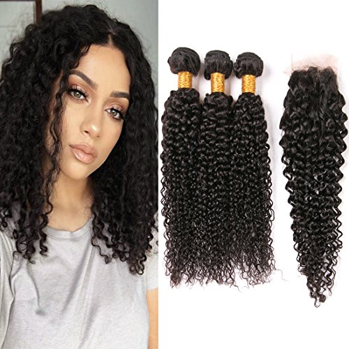 Kinkys Curly Hair Extensions with Closure 7A Virgin Brazilian Hair Pieces Natural Color Real Human Hair 3 Bundles Closures Free Part for Black Woman 16 18 20 + - Free Delivery Very.co.uk