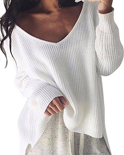 StyleDome Mujer Suéter Jersey Invierno Suelto Escote Pico Elegante Mangas Largas Oficina Croché Blanco