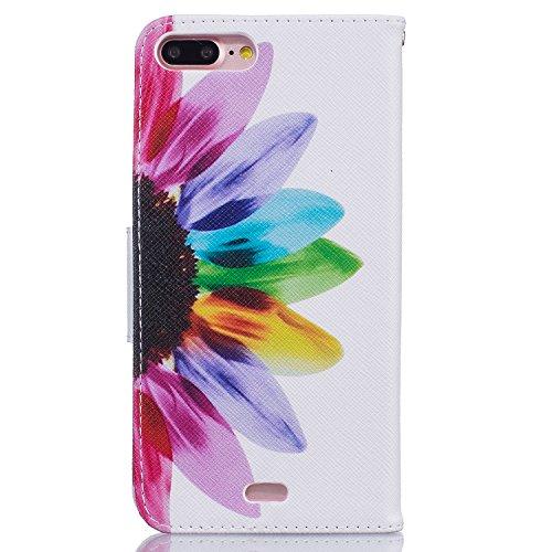 Voguecase® für Apple iPhone 7 Pro hülle,(Sieben Bunte Blume) Kunstleder Tasche PU Schutzhülle Tasche Leder Brieftasche Hülle Case Cover + Gratis Universal Eingabestift